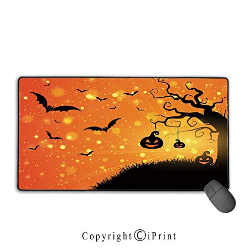 Office and home waterproof coated mouse pad,Halloween,Magical Fantastic Evil Night Icons Swirled Branches Haunted Forest Hill Decorative,Orange Yellow Black,Ideal for Desk Cover, Computer Keyboard, PC]()