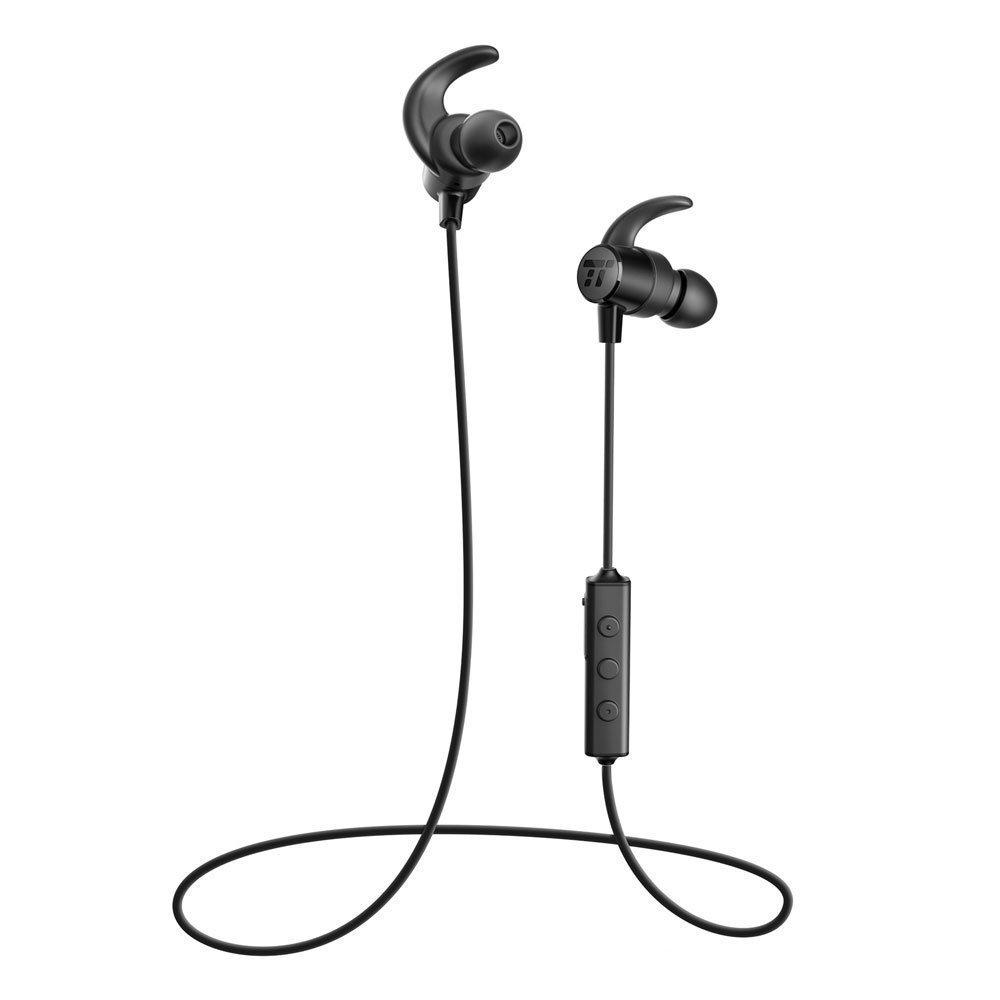 Bluetooth Headphones TaoTronics Sweatproof Wireless Headset Sports Earphones 8 Hours 4.2 Magnetic Earbuds (IPX6 Waterproof, aptX Stereo, CVC 6.0 Noise Cancelling Mic) TT-BH16