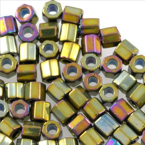 (Miyuki Delica Seed Bead Hex Cut 8/0 Metallic Nickel Plated AB (3 Gram Tube))