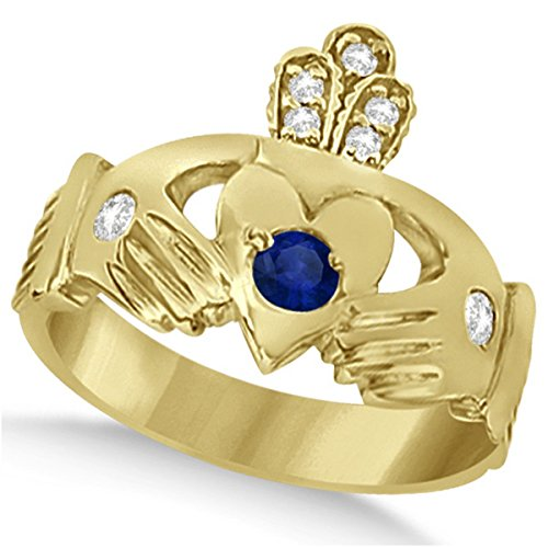 Designer Blue Sapphire and Diamond Accented Irish Claddagh Celtic Friendship Ring in 14k Yellow Gold