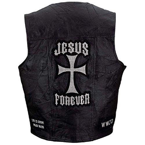 Mens Jesus Forever Black Leather Vest Motorcycle Christian Biker - Concho Biker