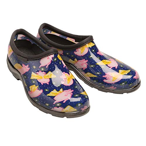 Sloggers Women's Waterproof Rain and Gardening Clog Shoes - When Pigs Fly Print - 8