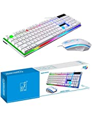 SKY-TOUCH G21 Keyboard Wired USB Gaming Mouse Flexible Polychromatic LED Lights Computer Mechanical Feel Backlit Keyboard Mouse Set,White (White)