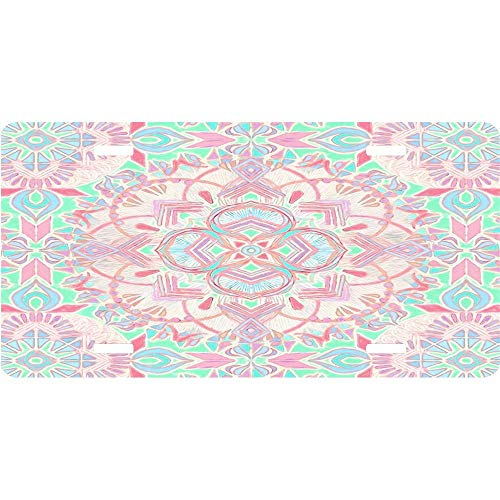 Mint and Blush Pink Painted Mandala Customized License Plates Aluminum, Decorative Auto Car Front License Plates, Vanity Car Tag 6