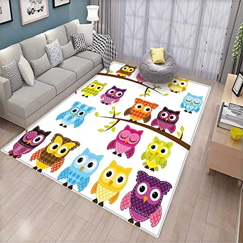r Inside Set of Patchwork Quilt Style Owls on Branches with Green Leaves Bird Mascots Print Bath Mat for tub Bathroom Mat Multicolor ()