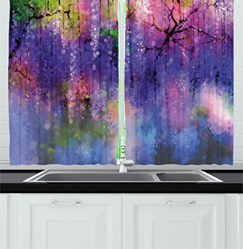 Ambesonne Watercolor Flower Home Decor Kitchen Curtains, Misty Vogue Wisteria Back Tree Branches Defocus Nature Print, Window Drapes 2 Panels Set for Kitchen Cafe, 55W X 39L inches, Violet Pink
