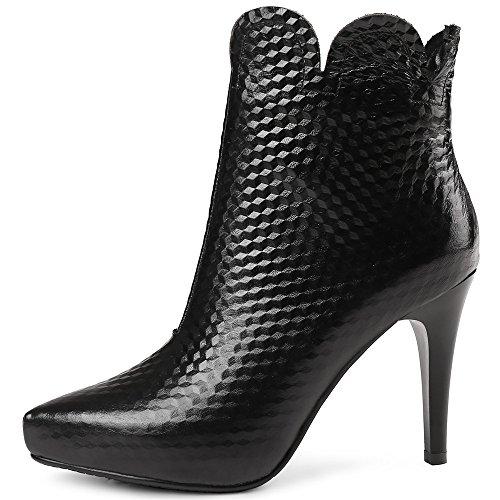 Stivaletti Alla Caviglia Trendy Neri Eleganti Fatti A Mano Da Donna In Vero Cuoio Nove Nove