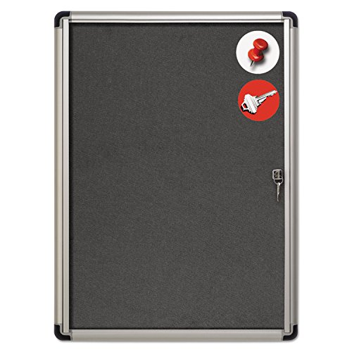 MasterVision Enclosed Grey Fabric Bulletin Board with Lock, Indoor Use, 28