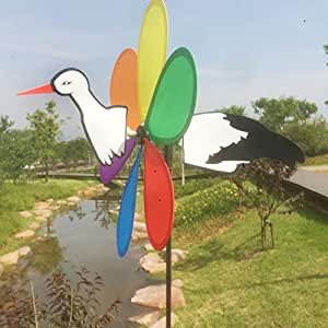 Gira con el viento Animal pájaro carpintero para jardín césped patio, diseño de animales de tortuga 3d en bicicleta molino de viento Spinner Whirligig jardín césped patio decoración por highflygao