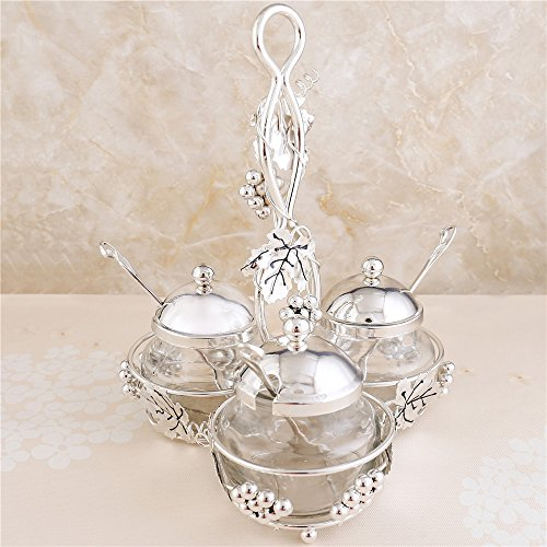 Condiment Glass (Glass Liner Condiment Pots with Lids and Spoons, Seasoning Container Canister Jar Bowl Cup with Silver Metal Holders for Coffee Berry Jam Syrup Cream Spice Salt Sugar Bowl)