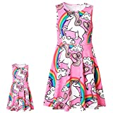 Girl & Doll Matching Dress Unicorn Clothes Sleeveless Summer Swing Dress 3t 4t