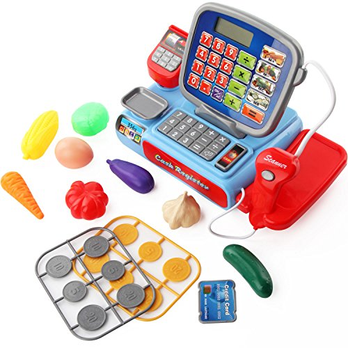 Cashier Counter (Mini Cash Registers with Scanners, Learning Resources Pretend Play Supermarket Checkout)