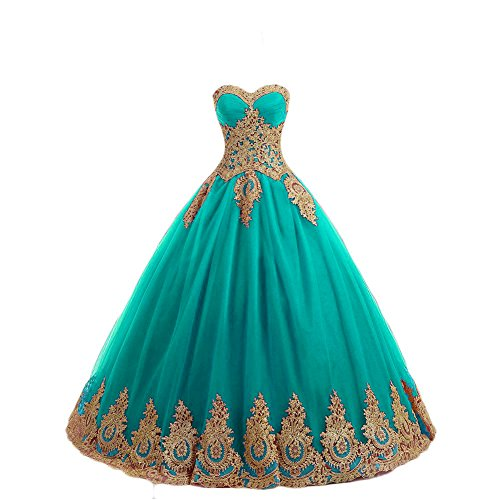LMBRIDAL Women's Lace Appliqued Sweetheart Quinceanera Dress Ball Gowns Tiffany Blue 24W