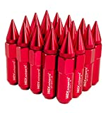 20pcs Red Cap Spiked Extended Tuner Wheel Racing Lug Nuts M12x1.5 60mm for Honda Mazda 6 Toyota Camry Mitsubishi Eclipse Lancer