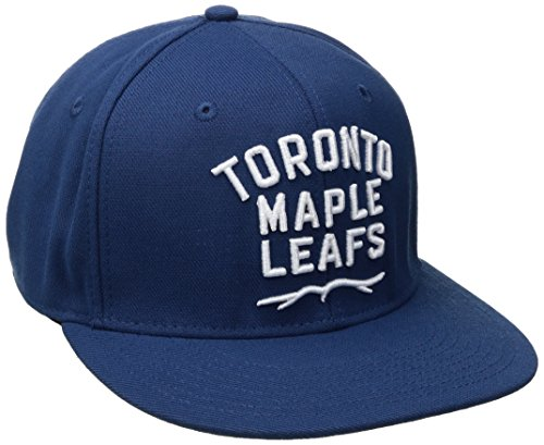 NHL Toronto Maple Leafs Men's SP17 Oversized Logo Flat Visor Flex Cap, Blue, Small/Medium ()