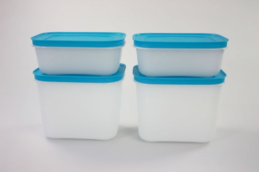 TUPPERWARE Contenitore Pinguino da 1, 1 L bianco blu (2) + 450 ml bianco blu (2) 11284