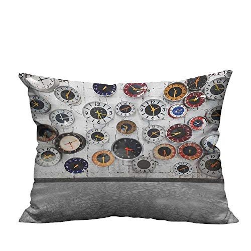 Modern Fashion Cushion Cover Decoratis Clock Vintage for Women Homeative Ideas in Modern Resists Dust Mites(Double-Sided Printing) 19.5x30 -