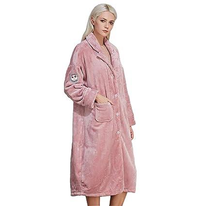 Albornoz Señoras Baggy Lencería para Mujeres Pijamas De Navidad De Lujo (Color : Pink,