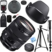 Sigma 24-70mm F2.8 DG OS HSM Art Lens for Canon Mount (576-954) with USB Dock, Kodak Flash, And Deluxe Case Plus Accessories Bundle