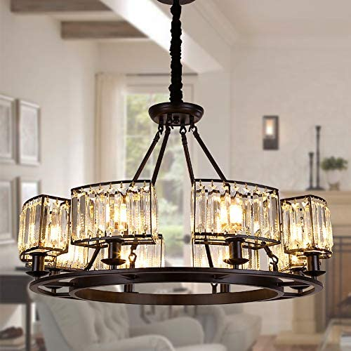 OSAIRUOS Rustic Crystal Chandeliers Modern Contemporary Ceiling Light Fixtures Vintage Pendant Lighting Living Dining Room Foyer Entryway Chandelier W32.7″ 8-Light
