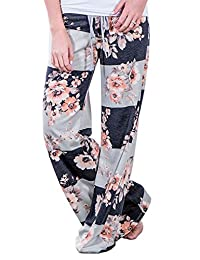 Amstt Women's Floral Print Drawstring Wide Leg High Elastic Waist Casual Loose Pants