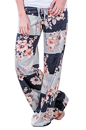 Amstt Women's Floral Print Drawstring Wide Leg High Elastic Waist Pants Plus Size