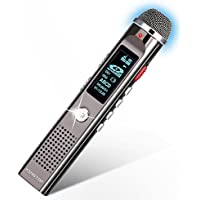 Digital Voice Recorder KINGTOP 8GB 1536kpbs PCM Voice Activated Dynamic Noise Reduction Audio Sound Recorder Dictaphone With MP3 Player FM Radio function for Meeting Lectures Conferences Interviews