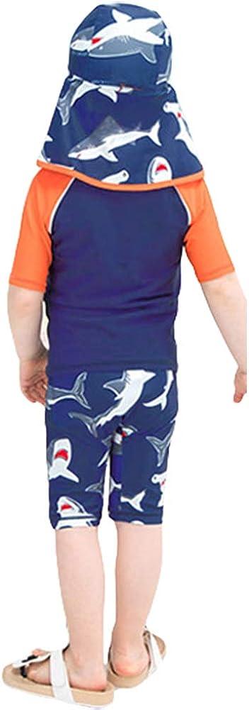 Digirlsor Kids Toddler Boys Two Piece Swimsuit Rash Guard Short Sleeve Quick Dry Swim Trunks Swimwear Set,1-9 Years