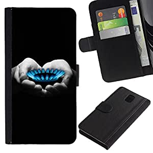 KingStore / Leather Etui en cuir / Samsung Galaxy Note 3 III / Mains en coeur Noir Blanc Gris foncé