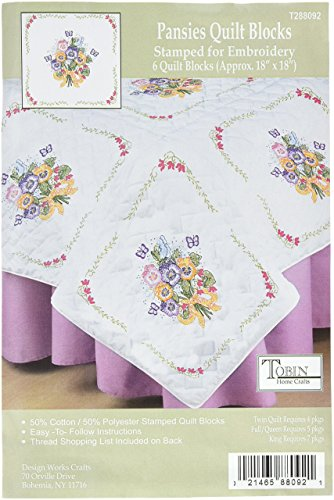 - Tobin T288092 Stamped White Quilt Block, 18 by 18-Inch, Pansies, 6-Pack