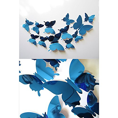 12pcs Butterflies Wall Stickers Shichique Blue 3D Stereoscopic Mirror Style Removable Art Wall Stickers Home Decor Wall Decors Pre-Adhesive