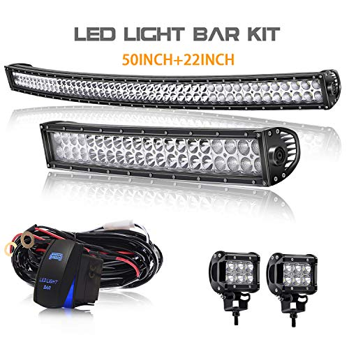 T-Former 50Inch Curved 288W LED Work Light Spot Flood Combo Off Road Lights Driving Lights + 22 inch Lights Bar +2PCS 4