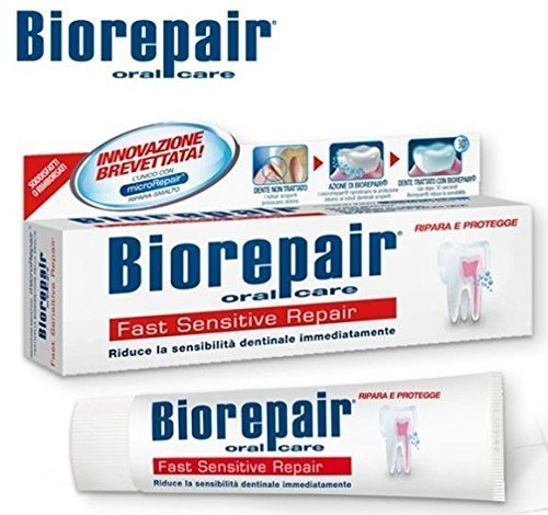 Biorepair Fast Sensitive Repair Toothpaste 75ml (Pack of Two) Repairs Damaged Tooth Enamel and Prevents Plaque and Tartar From Forming – Help with (Flavored Herbal Toothpaste)