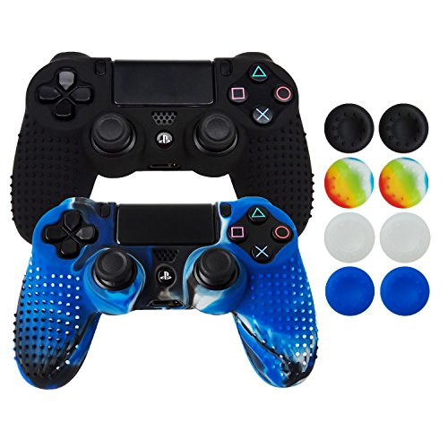 Hikfly Non-Slip Studded Rubber Oil Silicone Controller Cover with 8pcs Thumb Grips Caps Kit for Sony PS4/Slim/Pro Controller(Black,Blue Camouflage)