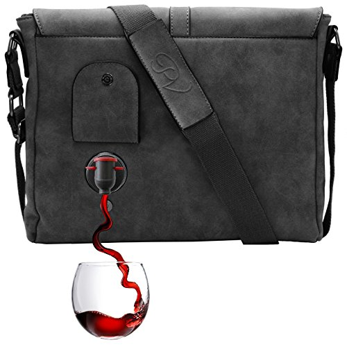 (PortoVino Wine Messenger Bag (Slate) - Holds 2 bottles of Wine - Stylish with Hidden, Insulated Compartment - Discreetly Store & Pour 1.5L from)