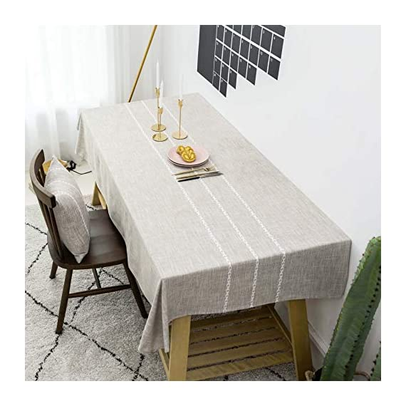"""Home Brilliant Faux Burlap Tablecloth Rectangular Oblong Table Cover for Kitchen Dinning Striped Tabletop Decoration (52 x 72 Inch, Light Linen) - READY MADE: Package contains 1 piece of table cloth: measures width 52"""" x length 72"""" (132cm x 182cm). Due to hand tailor and sewing, 0.5""""-1"""" deviation is allowed. MATERIAL: Home Brilliant table cloths are made of 100% premium polyester but Look just like luxurious linen fabric. This fabric is designed to withstand repeated use and frequent laundering.Please iron after laundering. VERSATILE: Home Brilliant Table Cloth can be used on many places and many occasions: can be used such as kitchen tablecloth, dinning table cloth for daily use, buffet table cover for parties and weddings, outdoor table covers for friends gathering. - tablecloths, kitchen-dining-room-table-linens, kitchen-dining-room - 51IwiwIspgL. SS570  -"""