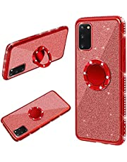 Cestor Ring Holder for Samsung Galaxy A72 5G Glitter Silicone Phone Case Bling Protective Bumper with Kickstand Diamond Plating Frame TPU Case for Samsung Galaxy A72 5G,Red