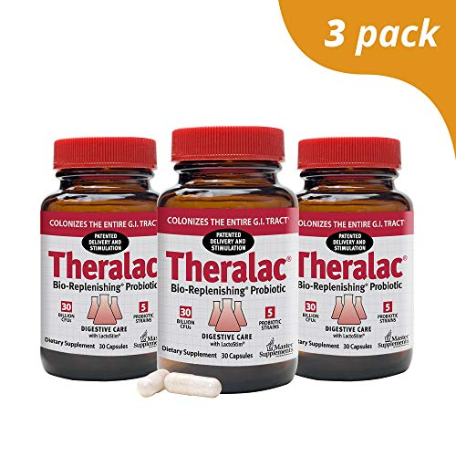 (Master Supplements Theralac (3 Pack) - 30 Vegan Capsules - Multi Strain Probiotic for Optimal Gut Health, Immune Booster, Gas and Bloating Relief - Gluten Free - 30 Servings)