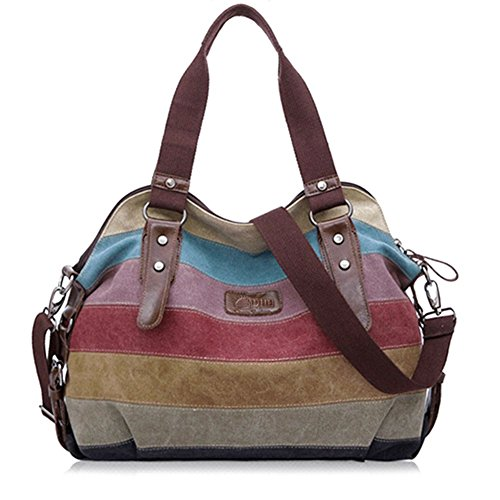 Simple Color Block Women Canvas Shoulder Bag - 4