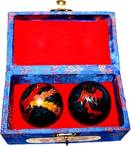 MEDIUM-BLUE-CLOISONNE-STYLE-DRAGON-AND-PHOENIX-ZEN-MEDITATION-AND-EXERCISE-BAODING-BALLS