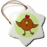 3dRose LLC Cute Brown Chicken Dance with Green Background 3-Inch Snowflake Porcelain Ornament