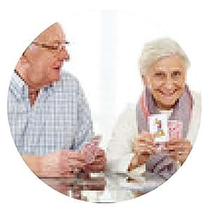 alfombrilla de ratón Mayores que juegan a las cartas con los trabajadores sociales - ronda - 20cm