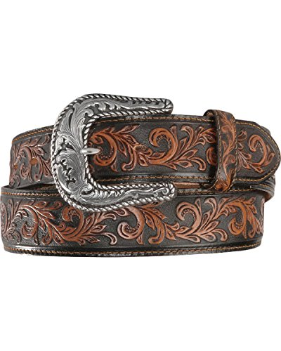 [Tony Lama Men's Scottsdale Classic Tooled Western Belt Black 38] (Hand Belt Buckle)