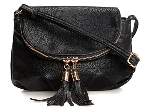 Black Leather Tassel Bag - 1