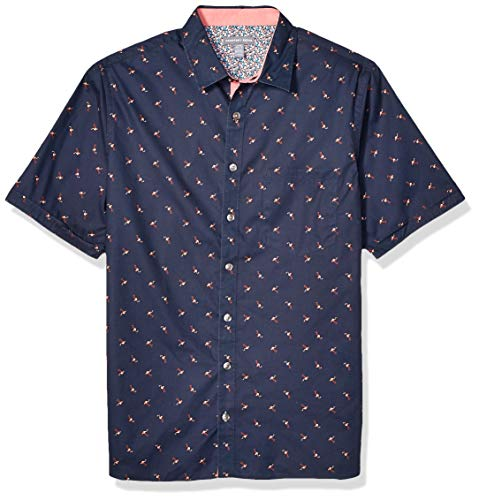 Geoffrey Beene Men's Big and Tall Easy Care Short Sleeve Button Down Shirt, Sea Navy, 4X-Large Tall