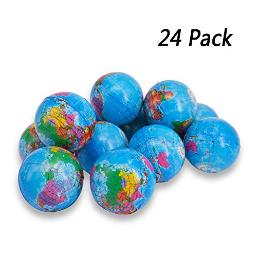 "Wang-Data Squeezable World Stress Balls for Kids Mini World Globe Earth Ball 24 Pack - Pressure Relieving Health Balls Globe Pattern Balls for Kids, School, Classroom, Party Favors (2.5"" Inches)"
