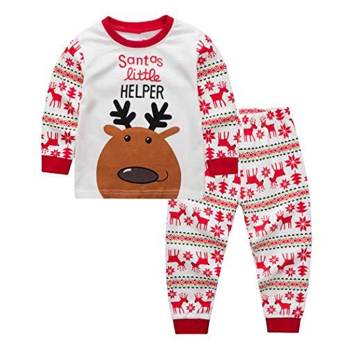 FUNOC Kid Christmas Pajamas Set Toddler Cotton Clothes Children Sleepwear (1-2 Years, White-1)