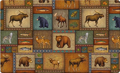 - Toland Home Garden Quilted Wilderness 18 x 30 Inch Decorative Wildlife Floor Mat Animal Collage Doormat - 800192