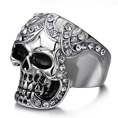 SAINTHERO Mens Vintage Black Gothic Skull Rings 316L Stainless Steel Heavy Metal Rock Punk Biker Bands High Polished Size 8