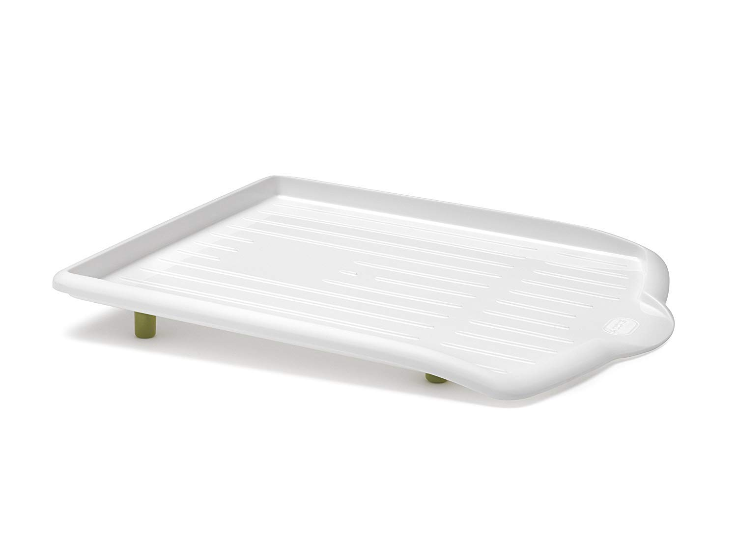 Addis Sink Side Drip Sloping Draining Tray with Soft Touch Feet, White/Green, 45 x 39 x 5 cm 9881